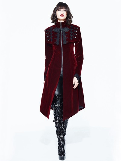 Devil Fashion Red Vintage Velvet Gothic Long Cape Coat for Women