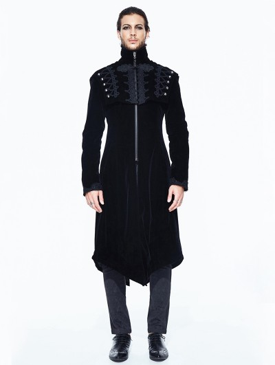 Devil Fashion Black Vintage Velvet Gothic Long Cape Coat for Men
