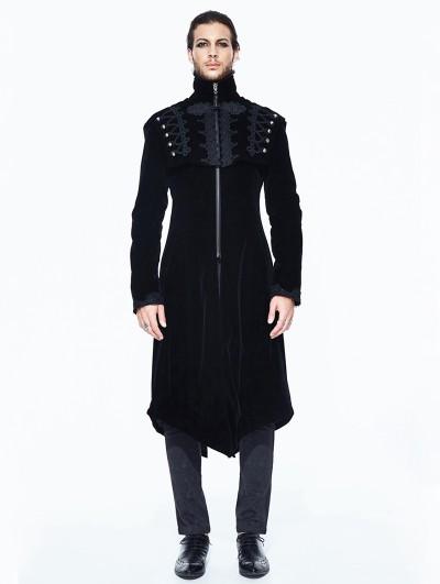 Devil Fashion Black Vintage Velvet Gothic Long Cape Coat for Men