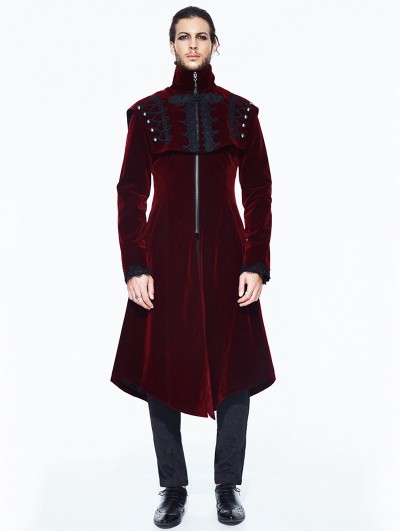 Devil Fashion Red Vintage Velvet Gothic Long Cape Coat for Men