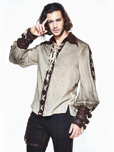 Devil Fashion Vintage Steampunk Long Sleeves Shirt for Men