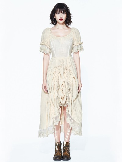 Devil Fashion Ivory Vintage Steampunk High-Low Dress