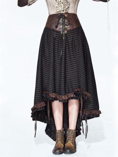 Devil Fashion Brown Striple Steampunk Skirt for Women