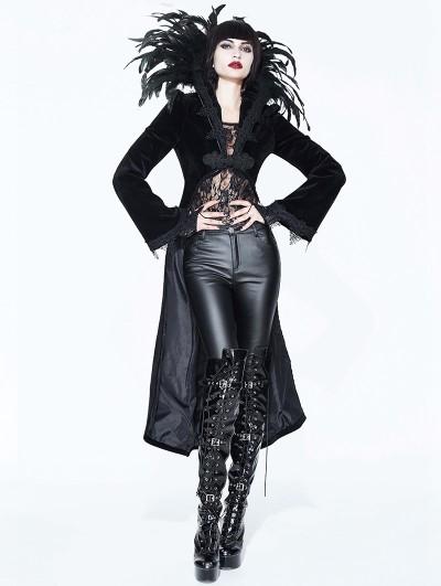 Eva Lady Black Gothic Vampire Dark Queen Coat for Women