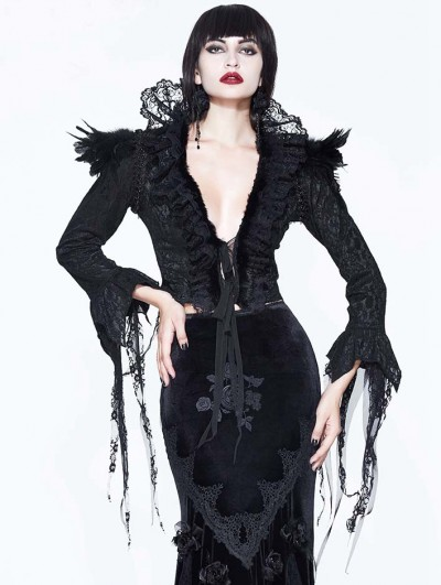 Eva Lady Black Gothic Lace Dark Queen Short Jacket for Women