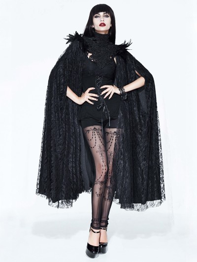 Eva Lady Black Gothic Lace Dark Queen Long Cape for Women