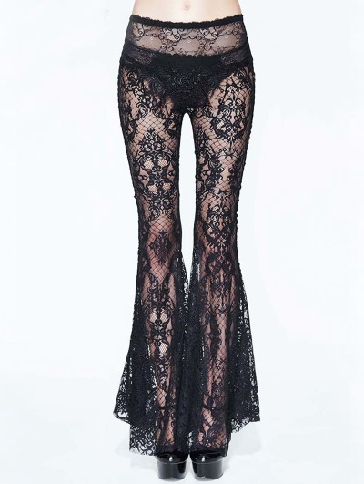 Eva Lady Black Sexy Gothic Transparent Lace Flared Trousers for Women