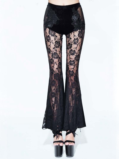Eva Lady Black Sexy Gothic Velvet Lace Flared Trousers for Women