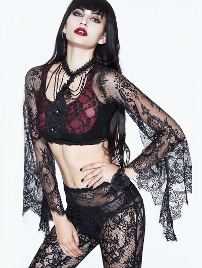 Eva Lady Black and Red Gothic Lace Short Sexy Shirt for Women