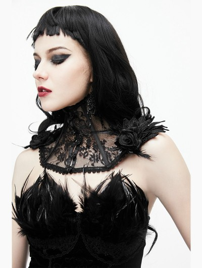 Eva Lady Black Gothic Lace Flower Collar