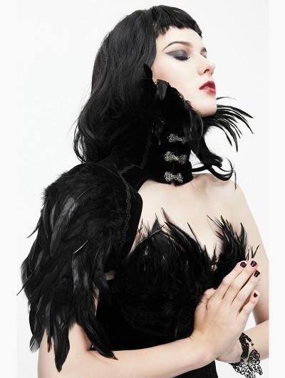 Eva Lady Black Gothic Feather Collar