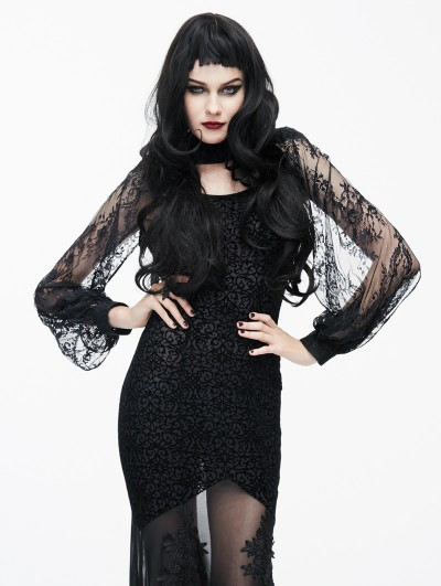 Eva Lady Black Gothic Lace Cape for Women