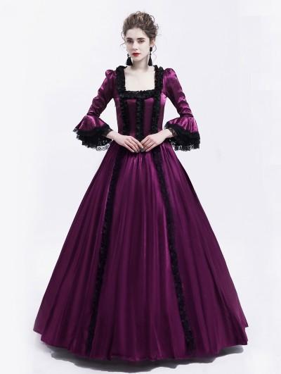 Rose Blooming Purple Renaissance Marie Antoinett Theatrical Victorian Costume Dress