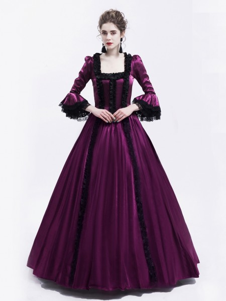 4a7a85a1a524 Rose Blooming Purple Renaissance Marie Antoinett Theatrical Victorian  Costume Dress ...