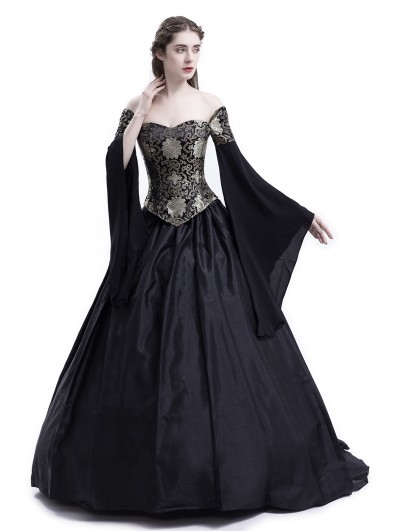 Rose Blooming Black Theatrical Vintage Gothic Victorian Ball Dress