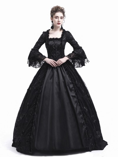 Rose Blooming Black Flower Masquerade Gothic Victorian Dress