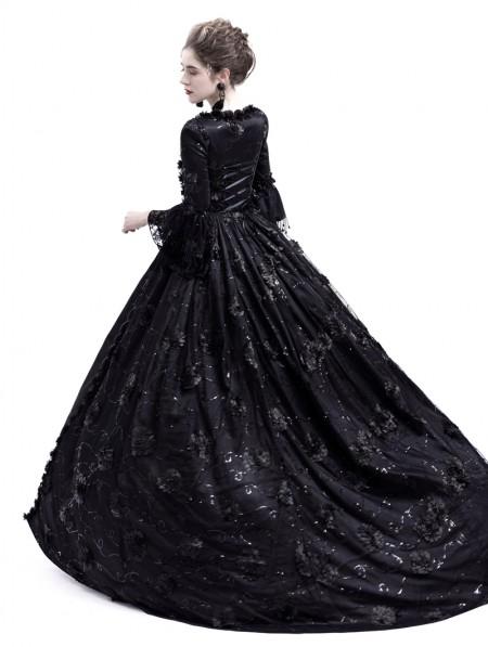 ac8d80df681b ... Rose Blooming Black Flower Masquerade Gothic Victorian Dress