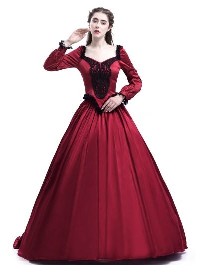 Rose Blooming Red Belle Ball Princess Victorian Masquerade Dress
