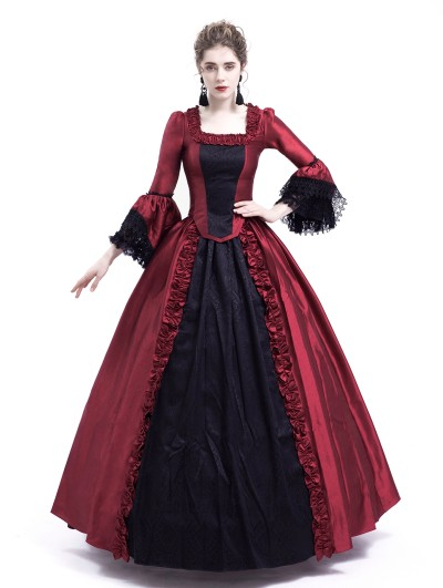 Rose Blooming Black and Red Marie Antoinette Gothic Victorian Ball Gown