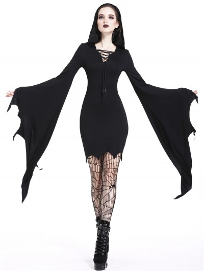 Dark in Love Black Gothic Super Bat Sleeve Sexy Hooded Short Dress