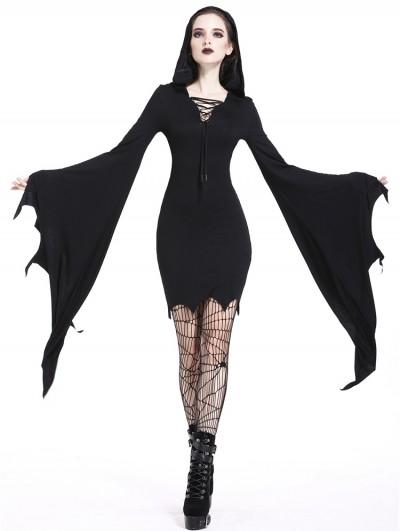 Dark in Love Black Gothic Super Bat Sleeve Sexy Hooded Short Dress