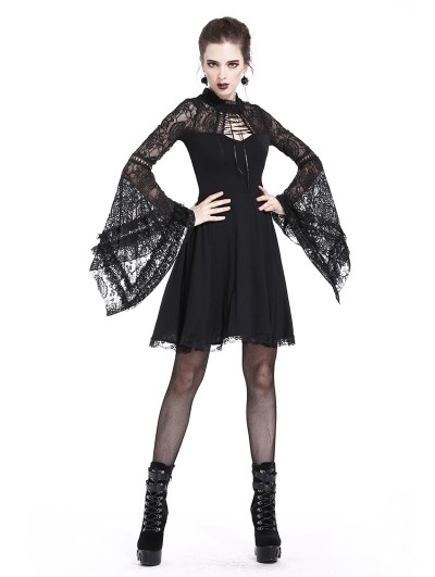 Dark in Love Black Elegant Gothic Lace Sleeve Knitted Short Dress