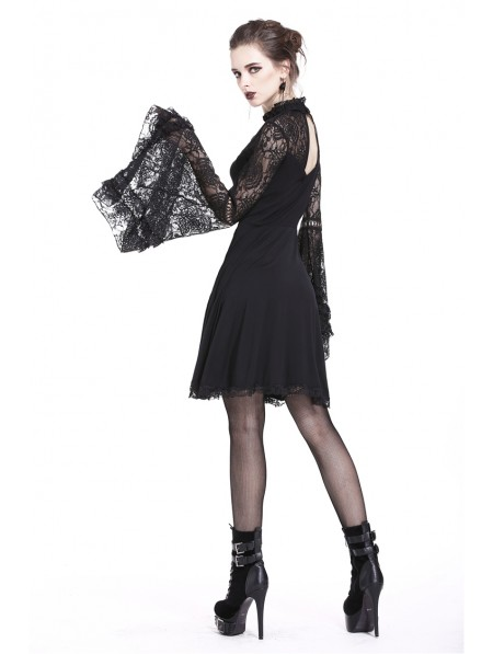 e4a1d40858 ... Dark in Love Black Elegant Gothic Lace Sleeve Knitted Short Dress ...
