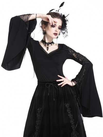 Dark in Love Black Gothic Flower Lace Sleeves T-Shirt for Women