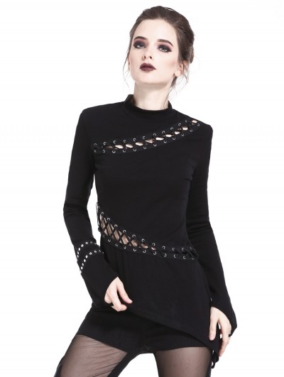 Dark in Love Black Gothic Asymmetrical Punk Metal Lace-up T-Shirt for Women