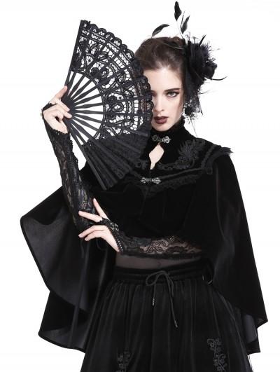 Dark in Love Black Vintage Elegant Gothic Velvet Cape for Women