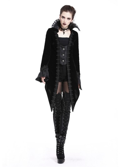 Dark in Love Black Gothic Retro Velvet Coat for Women
