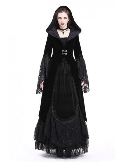 Dark in Love Black Vintage Gothic Velvet Hooded Jacket for Women