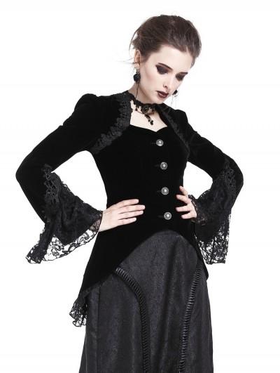Dark in Love Black Vintage Gothic Victorian Velvet Tailcoat for Women