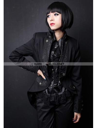Pentagramme Black High-Low Gothic Jacket for Women
