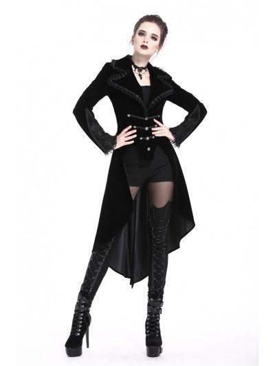 Dark in Love Black Gothic Fishtail Long Velvet Jacket for Women