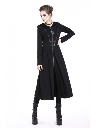 Dark in Love Black Gothic Punk Triangle Long Jacket for Women