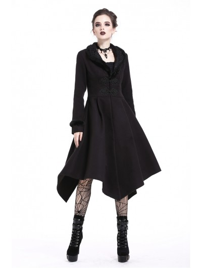 Dark in Love Black Gothic Elegant Lady Long Winter Coat