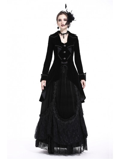 Dark in Love Black Gothic Pleated Long Velvet Tailcoat for Women