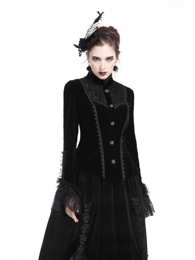 Dark in Love Black Gothic Velvet Blouse-Shape Jacket for Women