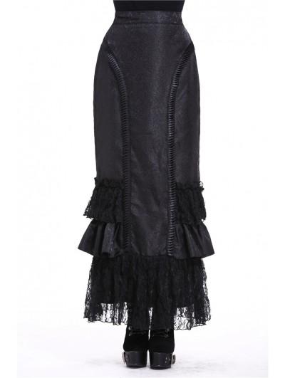 Dark in Love Black Elegant Gothic Frilly Long Prom Party Skirt