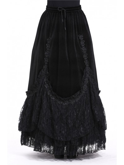Dark in Love Black Elegant Gothic Velvet Long Prom Party Skirt