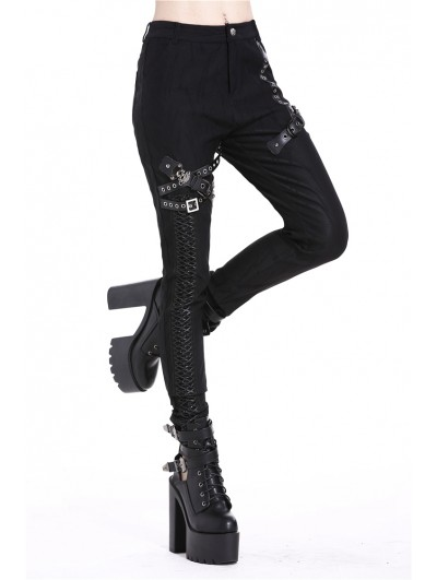 Dark in Love Black Gothic Punk Rivet Trousers for Women