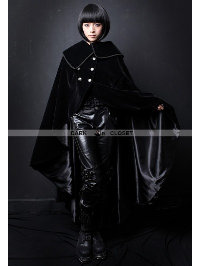 Pentagramme Black Velvet High-Low Gothic Cape for Women