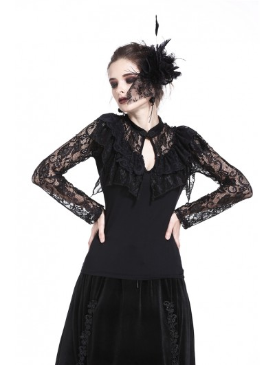 Dark in Love Black Gothic Sexy Lace Long Sleeves T-Shirt for Women
