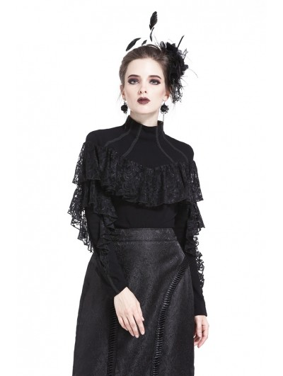 Dark in Love Black Gothic Romantic High-Collar Lacey Knitted T-Shirt for Women