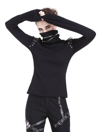 Dark in Love Black Gothic Punk Long Sleeves T-Shirt for Women