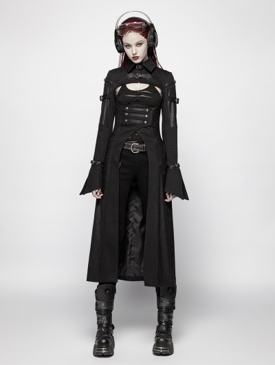 Punk Rave Black Gothic Steampunk Futuristic Long Coat for Women