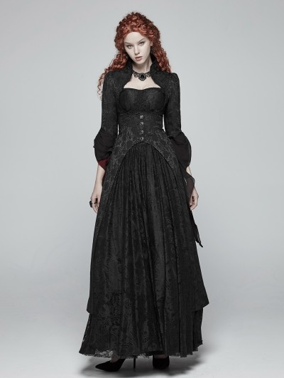 Punk Rave Black Jacquard Gothic Court Long Coat for Women