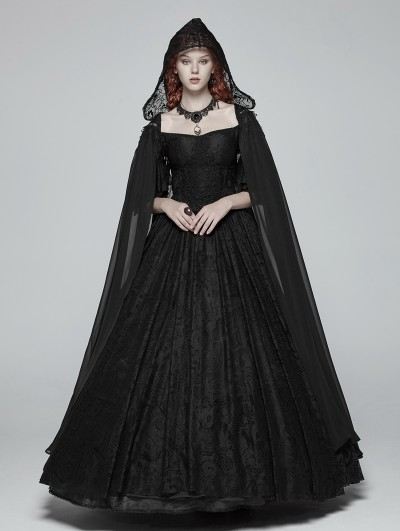 Punk Rave Black Gothic Chiffon Long Cape for Women