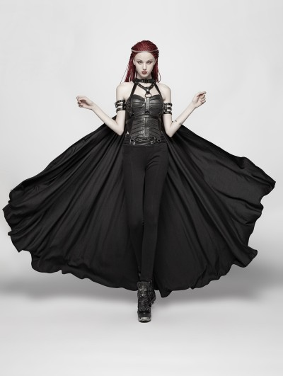 Punk Rave Women's Black Gothic Punk Cape With Chain
